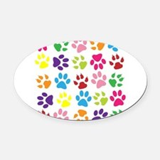 Multiple Rainbow Paw Print Design Oval Car Magnet