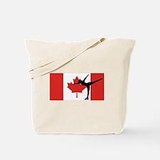 Figure Skater Canadian Flag Tote Bag