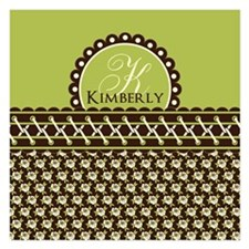 Brown Olive Floral Stitched Invitations