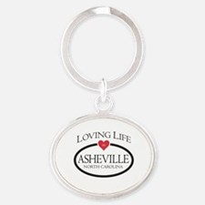 Loving Life in Asheville, NC Oval Keychain