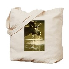 Moose Dipping His Head Into Water Tote Bag
