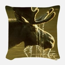 Moose Dipping His Head Into Wa Woven Throw Pillow