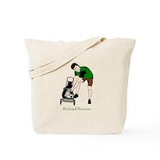 Weekend Warrior Lawn Mower Man Cartoon Tote Bag