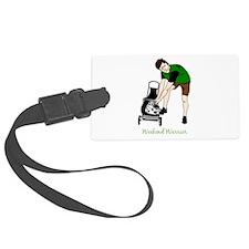 Weekend Warrior Lawn Mower Man Cartoon Luggage Tag
