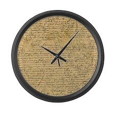 Old Manuscript Large Wall Clock