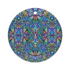 Colorful Abstract Psychedelic Sym Ornament (Round)