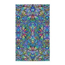 Colorful Abstract Psychedelic Symmetrical Area Rug