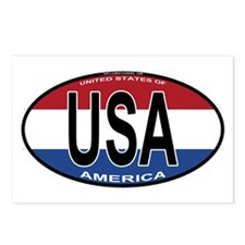 USA Colors Oval Postcards (Package of 8)