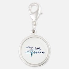 She is Fierce Silver Round Charm