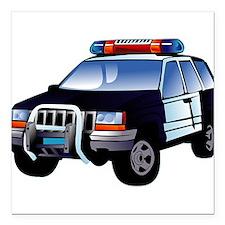 "police car Square Car Magnet 3"" x 3"""