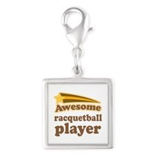 Racquetball Player Silver Square Charm