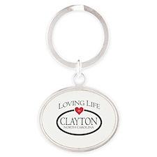 Loving Life in Clayton, NC Oval Keychain