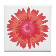 Just A Flower Coral Tile Coaster