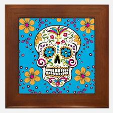 Sugar Skull TEAL Framed Tile