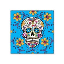 "Sugar Skull TEAL Square Sticker 3"" x 3"""