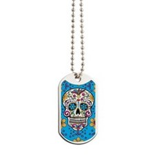 Sugar Skull TEAL Dog Tags