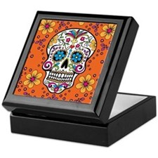 Sugar Skull ORANGE Keepsake Box