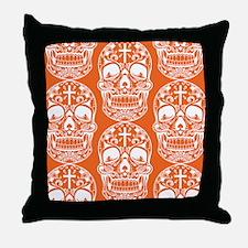 Sugar Skull Orange Throw Pillow