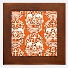 Sugar Skull Orange Framed Tile