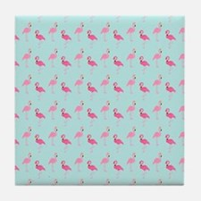 Pink Flamingos Pattern Tile Coaster