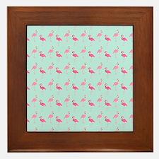 Pink Flamingos Pattern Framed Tile