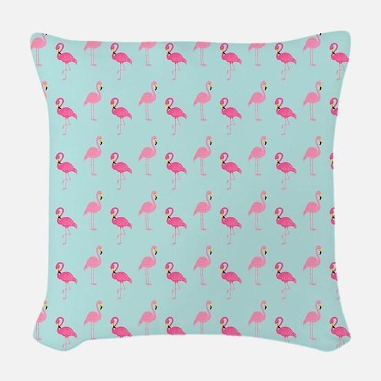 Pink Flamingos Pattern Woven Throw Pillow
