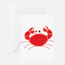 Red Crab Illustration Greeting Cards