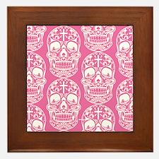 Sugar Skull Pink Framed Tile