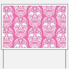 Sugar Skull Pink Yard Sign