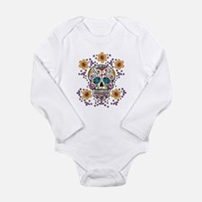 Sugar Skull WHITE Long Sleeve Infant Bodysuit