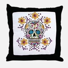 Sugar Skull WHITE Throw Pillow