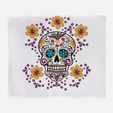 Sugar Skull WHITE Throw Blanket