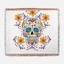 Sugar Skull WHITE Woven Blanket