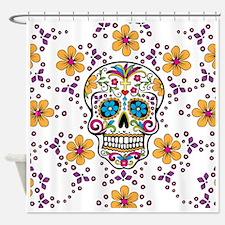Sugar Skull WHITE Shower Curtain