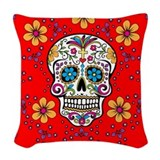 Day of the dead sugar skull Woven Pillows