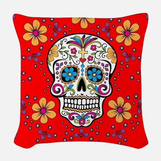 Sugar Skull RED Woven Throw Pillow