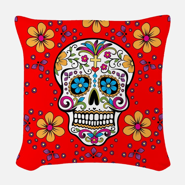 Sugar Skull RED Woven Throw Pillow