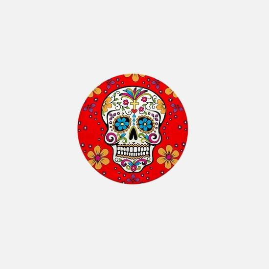 Sugar Skull RED Mini Button