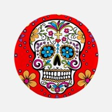 "Sugar Skull RED 3.5"" Button"