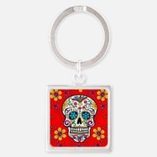 Sugar Skull RED Square Keychain