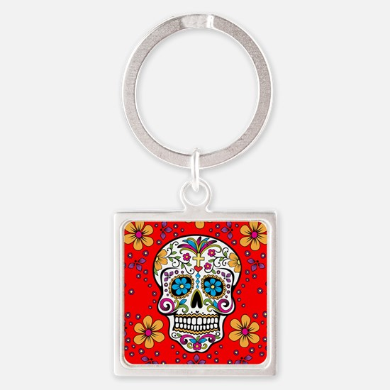 Sugar Skull RED Square Keychain