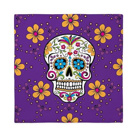 Sugar Skull Purple Queen Duvet By