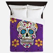 Sugar Skull PURPLE Queen Duvet