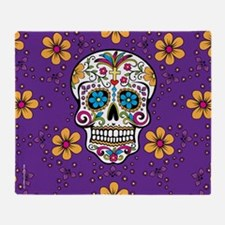 Sugar Skull PURPLE Throw Blanket