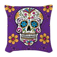 Sugar Skull PURPLE Woven Throw Pillow