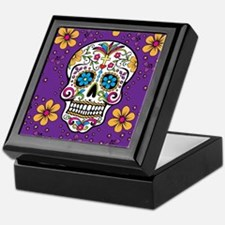 Sugar Skull PURPLE Keepsake Box