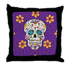 Sugar Skull PURPLE Throw Pillow