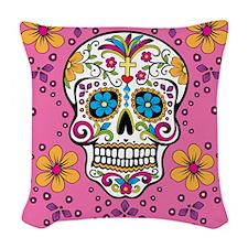 Sugar Skull PINK Woven Throw Pillow