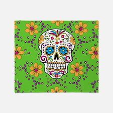 Dead Sugar Skull, Halloween Throw Blanket
