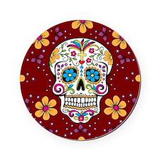 Sugar Skull GARNET Cork Coaster